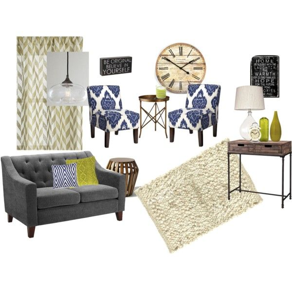 Indigo Citron Living Room Herringbone Curtains Gray Tufted Love Seat Ikat Blue Chairs Green Yellow Accents Pebble Cream Rug Wood Tables