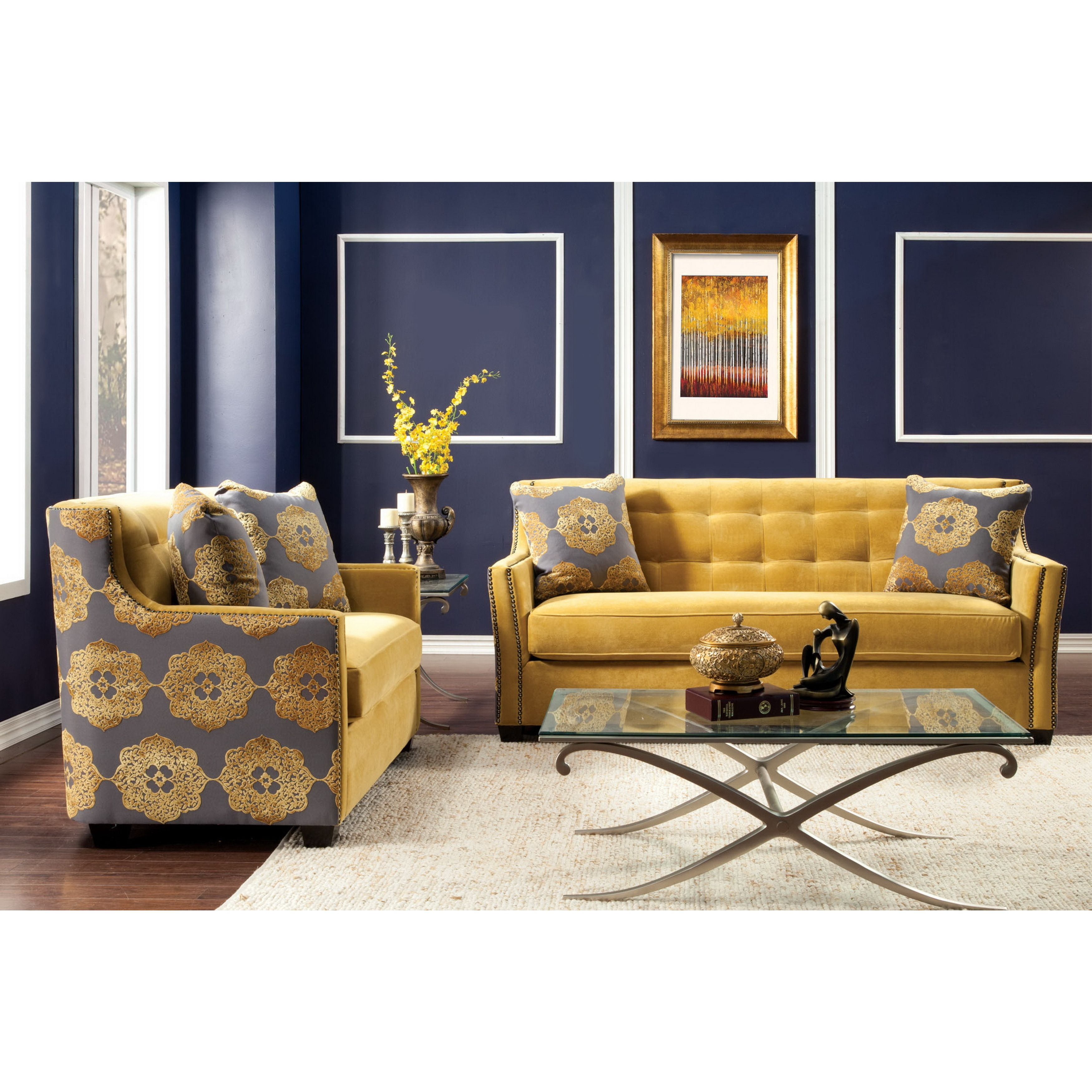Add luxurious enhancement right in your living decor, the Fedrix sofa set  offers elegant tufted and nailhead accents. Each piece is upholstered in  soft ...
