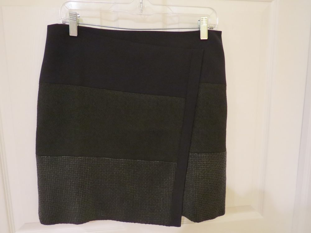 70% OFF GREAT ITEMS,  1 DAY CLEARENCE SALE! HURRY SHOP NOW!!  White House Black Market Skirt, Black 3 Textures, Fully Lined  Size 6 SUPER CUT #WhiteHouseBlackMarket #FauxWrap