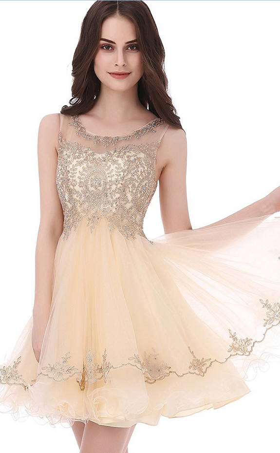 b7dc9ff0a Short Tulle Beading Homecoming Dress Prom Gown #Appliques#Short Homecoming  Dress#HomecomingDresses#Short PromDresses#Short CocktailDresses# HomecomingDresses