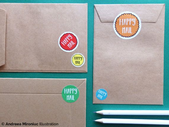 Happy mail round stickers happy mail sticker pack happy post labels pretty packaging stickers happy mail cute stickers for packaging