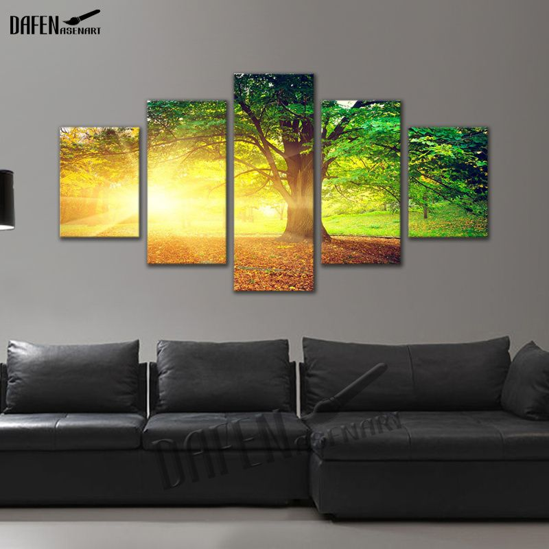 5 Panel Canvas Picture Golden Sunshine Forest Tree Landscape