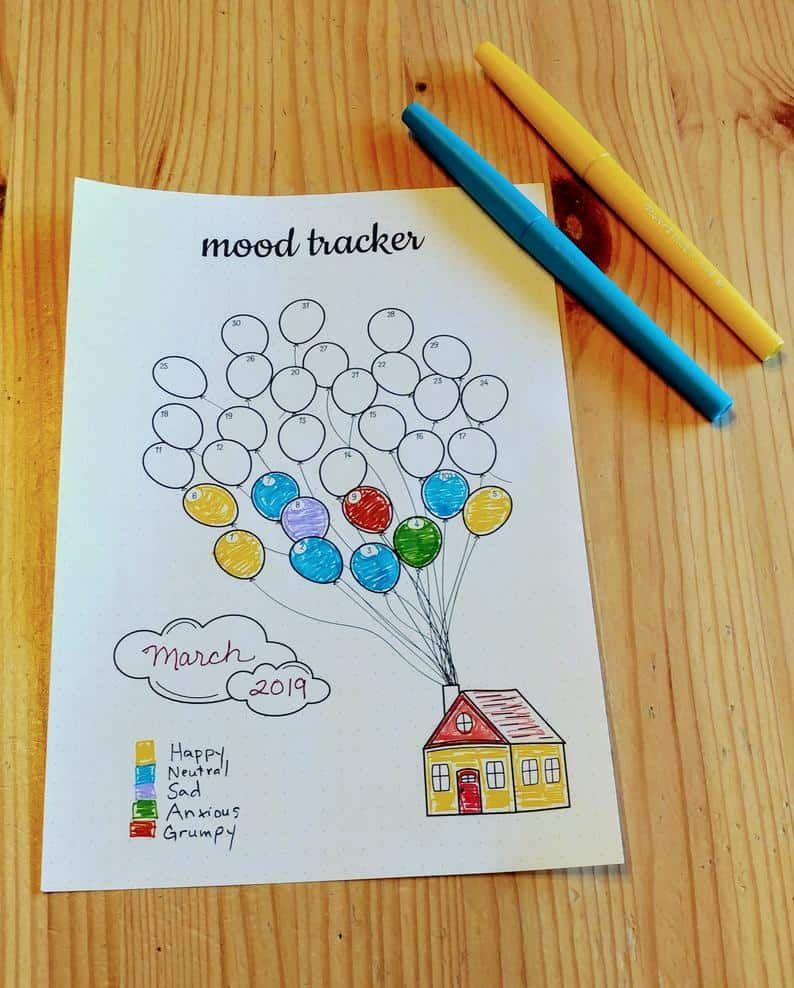 Mood Tracker Printable | Bullet Journal Printable | Bujo Printable | Journal Insert  | Balloons | Mood Log | Letter | A5 | Half Letter
