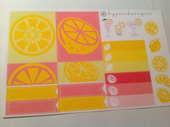 Pink Lemonade Sticker Set // Planner Stickers // by byjemdesigns