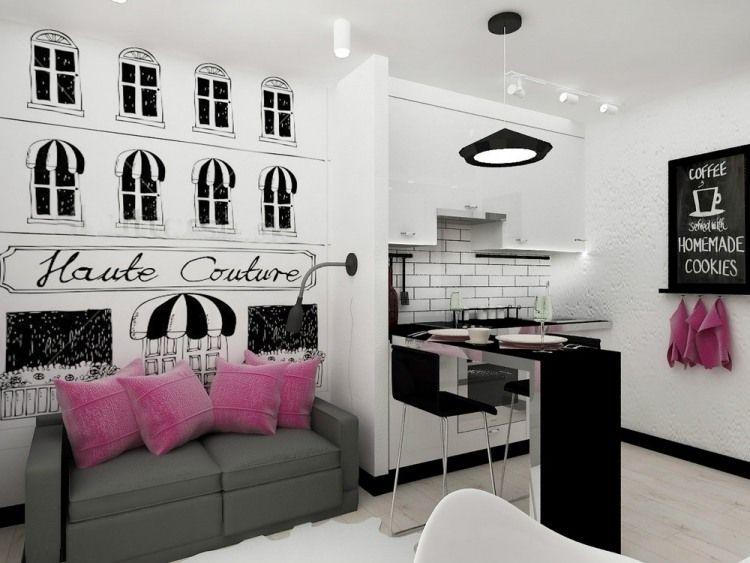 Schwarz Weiße Einrichtung Mit Pinken Akzenten   Wohnzimmer Und Kleine Küche