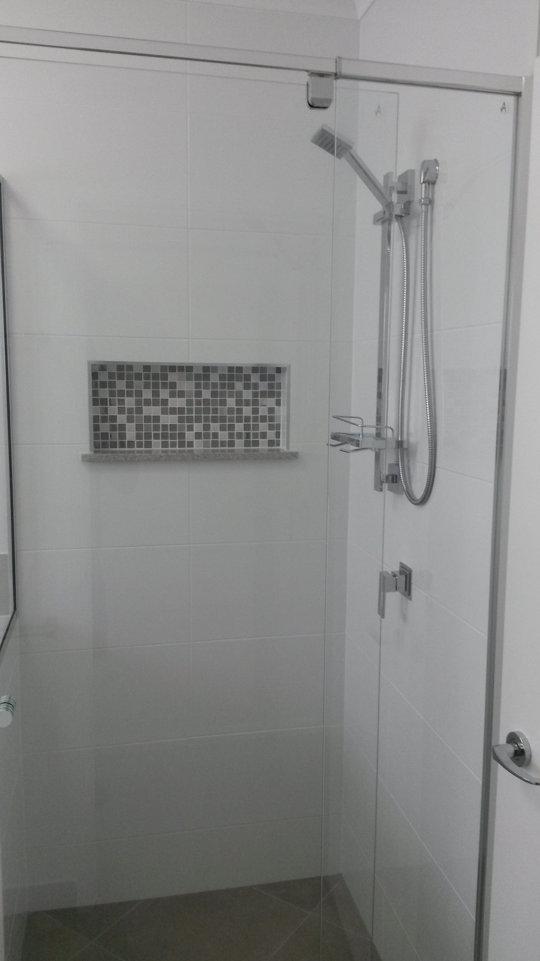 Bathroom Tiles Queensland feature tile to shower niche in bathroom. house builtgrady