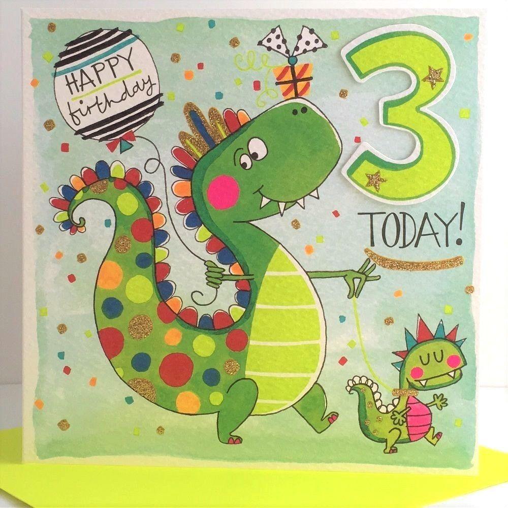 Rachel Ellen Childrens Boy Dinosaur 3 Today Age 3 Birthday Greeting