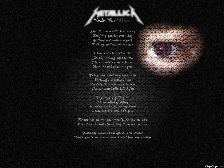 Fade To Black Metallica Lyrics Lyrics Metallica Black Album