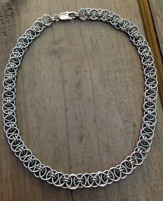 Women Stainless Steel Necklace Chainmaille Helm by Faroutmaille, $100.00
