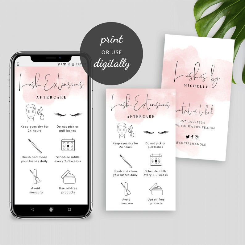 Eyelashes Care Card Template Diy Lash Extensions Aftercare Etsy In 2021 Photography Invoice Template Diy Lash Extensions Card Template