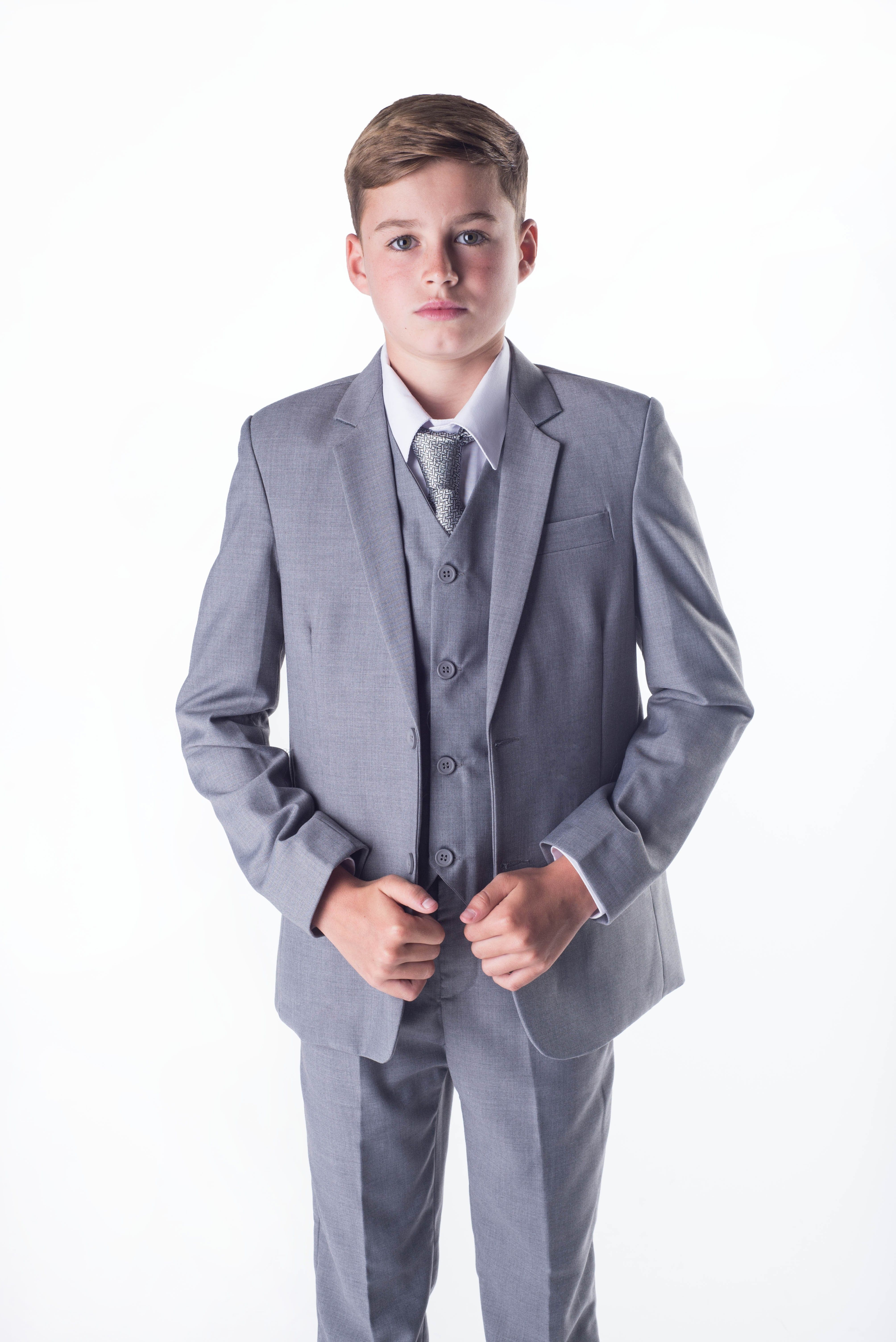 5 Piece Boys Grey suit Alexander - Boys 5 Piece Suits - Boys Suits ...