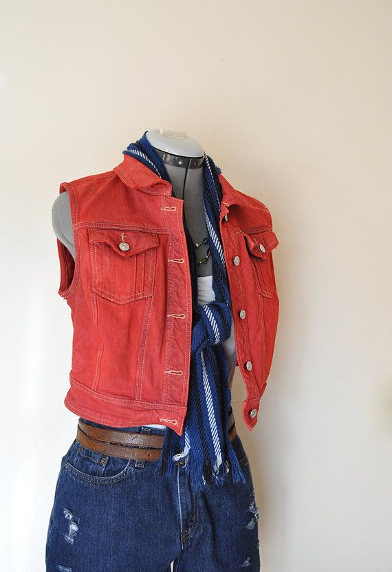 1fc8bf8b756 Red Small Denim VEST - Scarlet Red Hand Dyed Upcycled A.M.I. Cropped ...