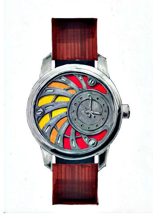 Design de la Montre de Luxe Alb 100, dessin au feutre à alcool type tria, promarker