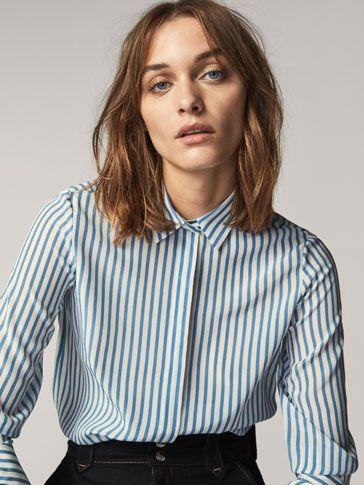 Spring summer 2017 Women´s STRIPED SILK SHIRT at Massimo Dutti for 49.95. Effortless elegance!   Fashion. Stripe silk