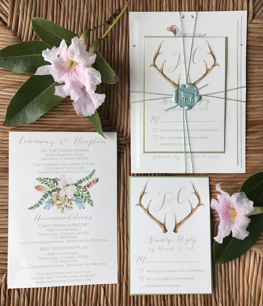 Wedding Invitation German Shorthaired Pointer Magnolias Antlers Save The Date Map Wax Seal Florida Southern Up Creek Farms