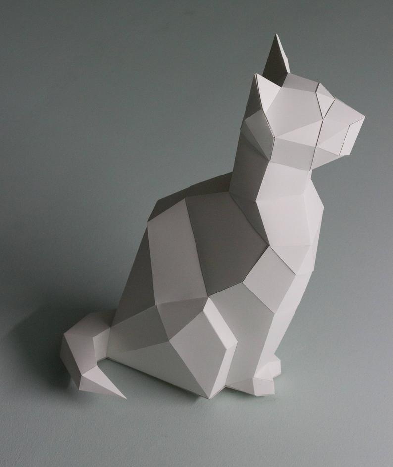Papercraft cat Sitting kitty 3D Low Poly Paper Sculpture DIY gift Decor for home and office pepakura pattern template handmade animals kitty #diyhalloweendecorationsforinside