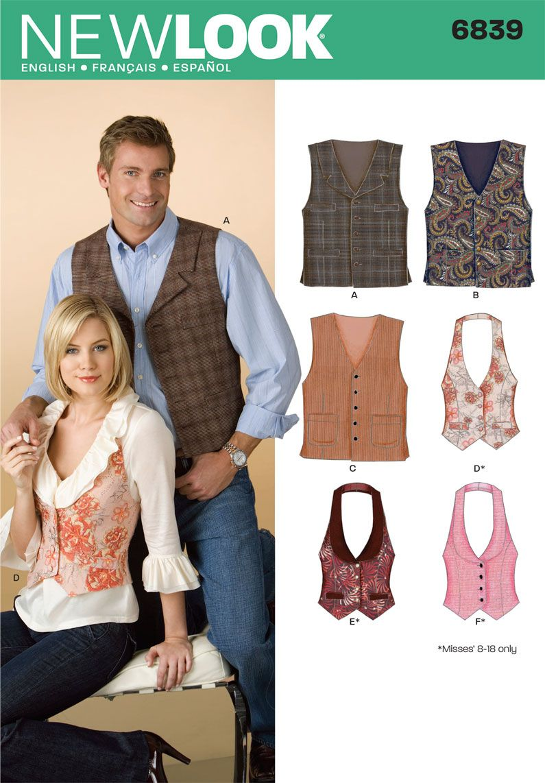 Womens and Men Vests Sewing Pattern 6839 New Look | Closet Steampunk ...
