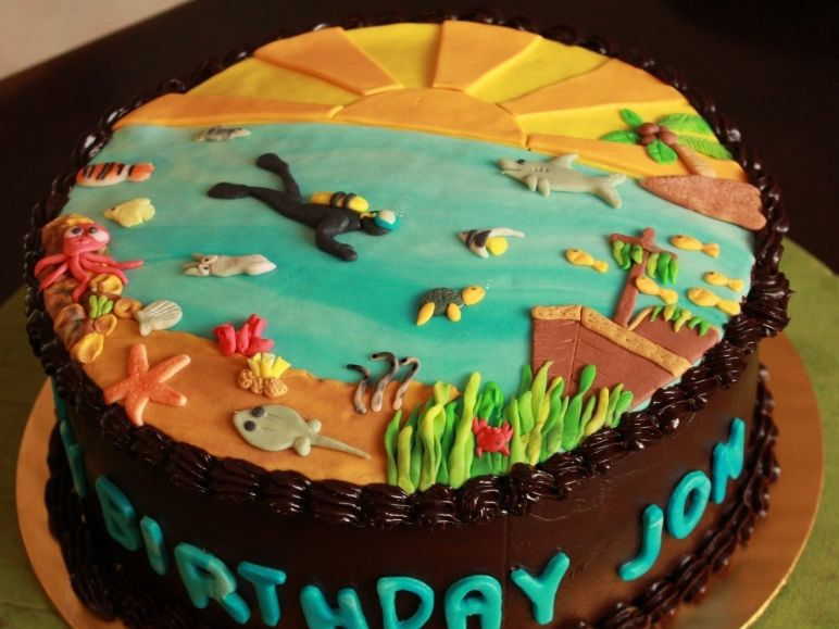 Personalized Birthday Cake Images Scuba Diving