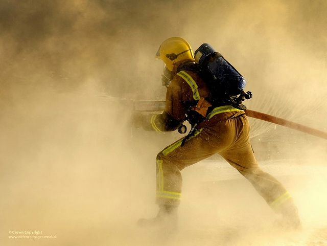 A Royal Air Force firefighter takes part in an exercise at RAF Leuchars in Scotland.