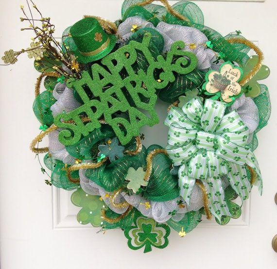 st patrick mesh wreath st patrick 39 s day deco mesh wreath by st patricks day st. Black Bedroom Furniture Sets. Home Design Ideas