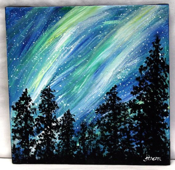 Northern Lights 10 x 10 stretched canvas by ThisArtToBeYours.  Looks like one of Barney and Valancys nature walks. The blue castle by LM Montgomery