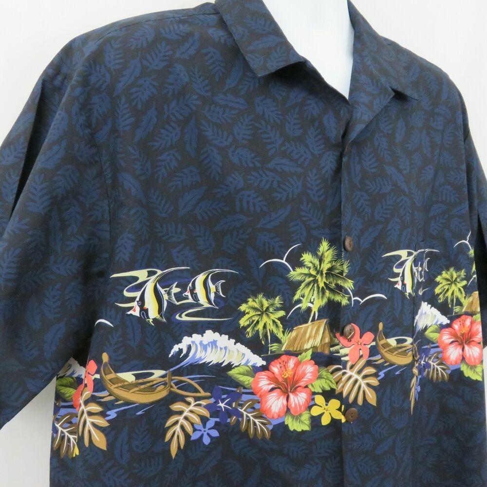 b77dbd62 Hilo Hattie Mens XL Navy Blue Border Print Floral Canoe Hawaiian Aloha Shirt  #HiloHattie #Hawaiian