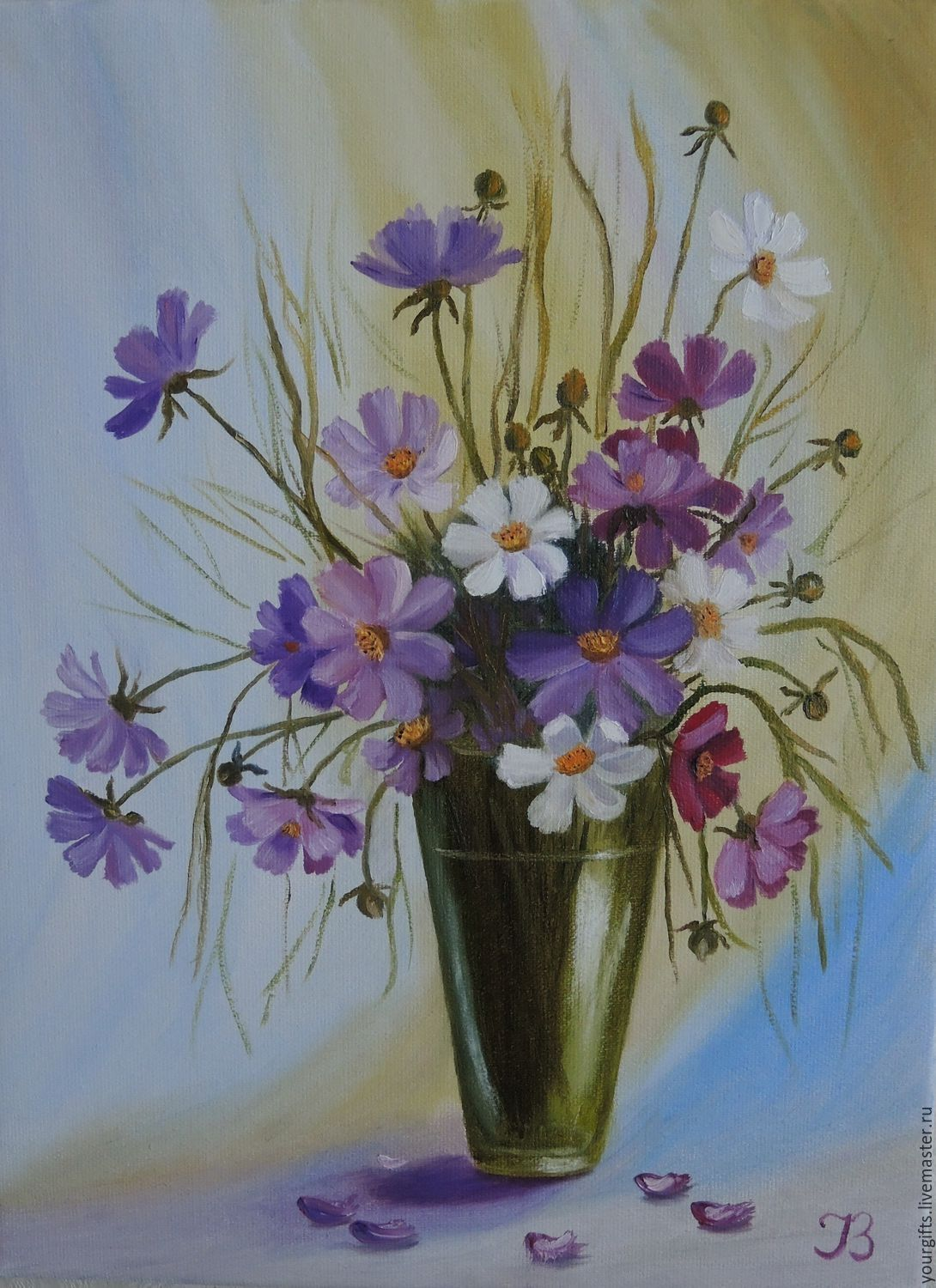 Bouquet Of Cosmos Oil Painting Flowers In A Vase Zakazat Na