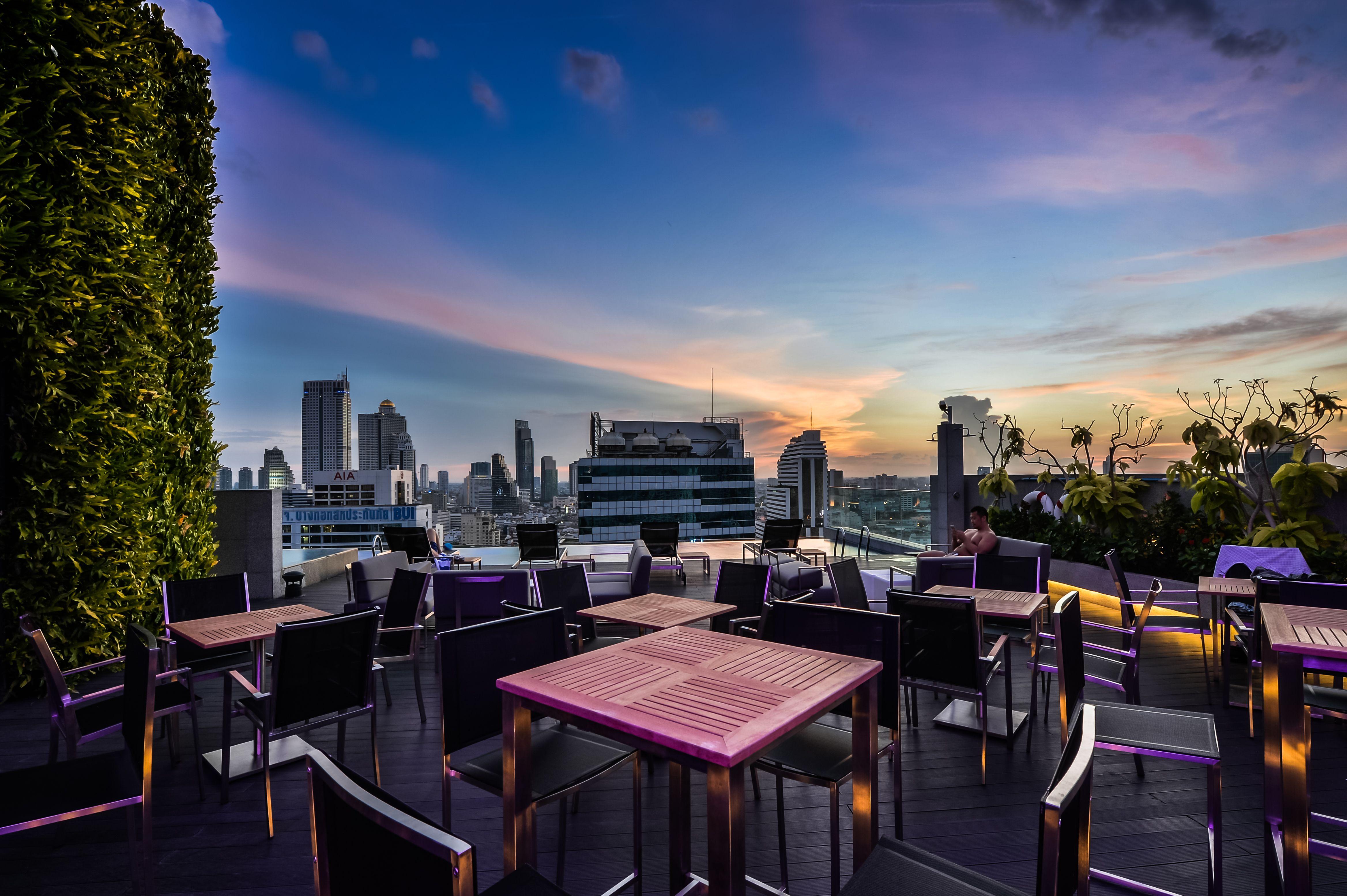 Sunset at rooftop bar Amara Bangkok Hotel