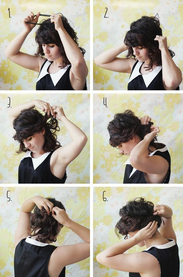 Throw On A Headband And Tuck All Your Hair Through It For A Super Simple Updo Curly Hair Styles Naturally Hair Styles Short Hair Updo