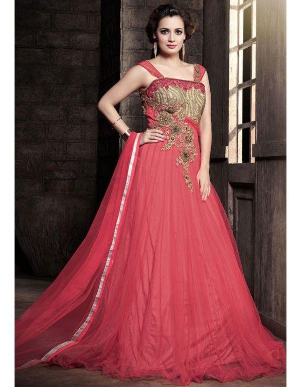 Diya Mirza Salmon Pink Floor Length Anarkali Suit   Pinterest ...