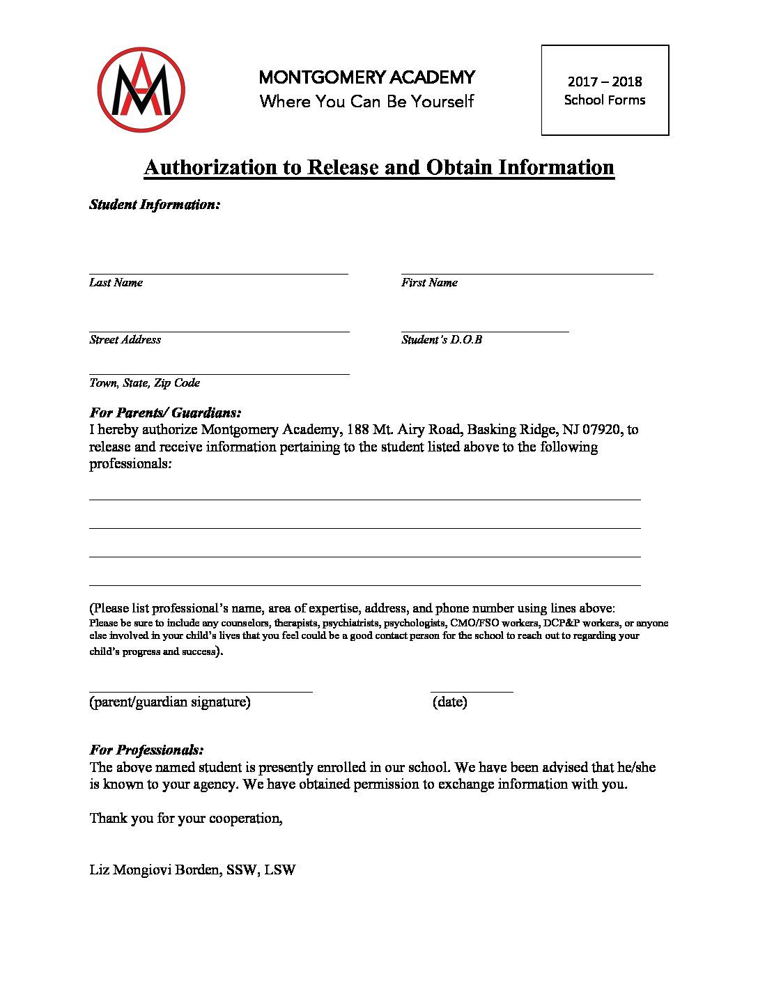 Authorization To Release And Obtain Information Http Www