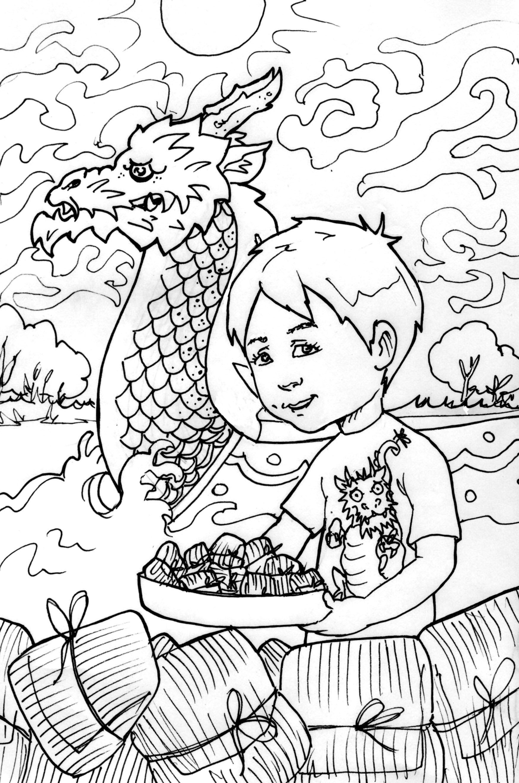 Dragon Boat Festival Coloring Sheet Kids Calashes