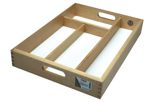 NEW SMALL WOODEN FORK SPOON CUTLERY HOLDER TRAY DRAWER WITH WHITE BASE- for loose parts