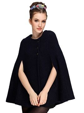 Shop Black Wool Blend Cape Coat from choies.com .Free shipping Worldwide.$25.9