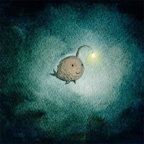 a light in the dark - angler fish art print encouragement hope art, Reel Combo
