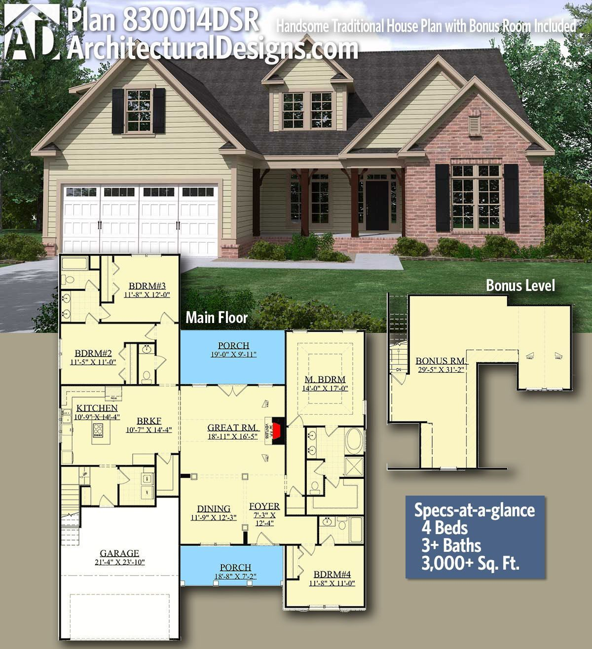 Architectural Designs Home Plan 830014dsr With 4 Bedrooms And 4 Baths In 3 000 Sq Ft With A Bonus Ov Craftsman House Plans House Plans Traditional House Plan