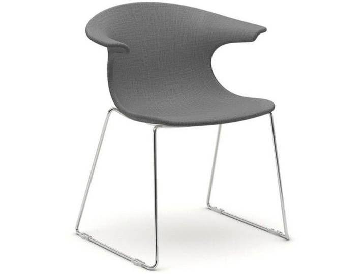 infiniti LOOP Sled gepolster Designer-Stuhl AC30 Weiss matt lackiert /