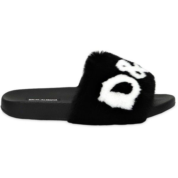 Dolce & Gabbana Women 20mm Rabbit Fur Logo Slide Sandals ($845) ❤ liked on Polyvore featuring shoes, sandals, patchwork shoes, rubber sole shoes, dolce gabbana shoes, dolce gabbana sandals and logo slide sandals