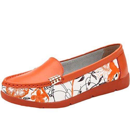 MatchLife Damen Vintage Leder Flach Pumpe Casual Schuhe Style7 Rot EU37/CH38 tmrxxIB0e