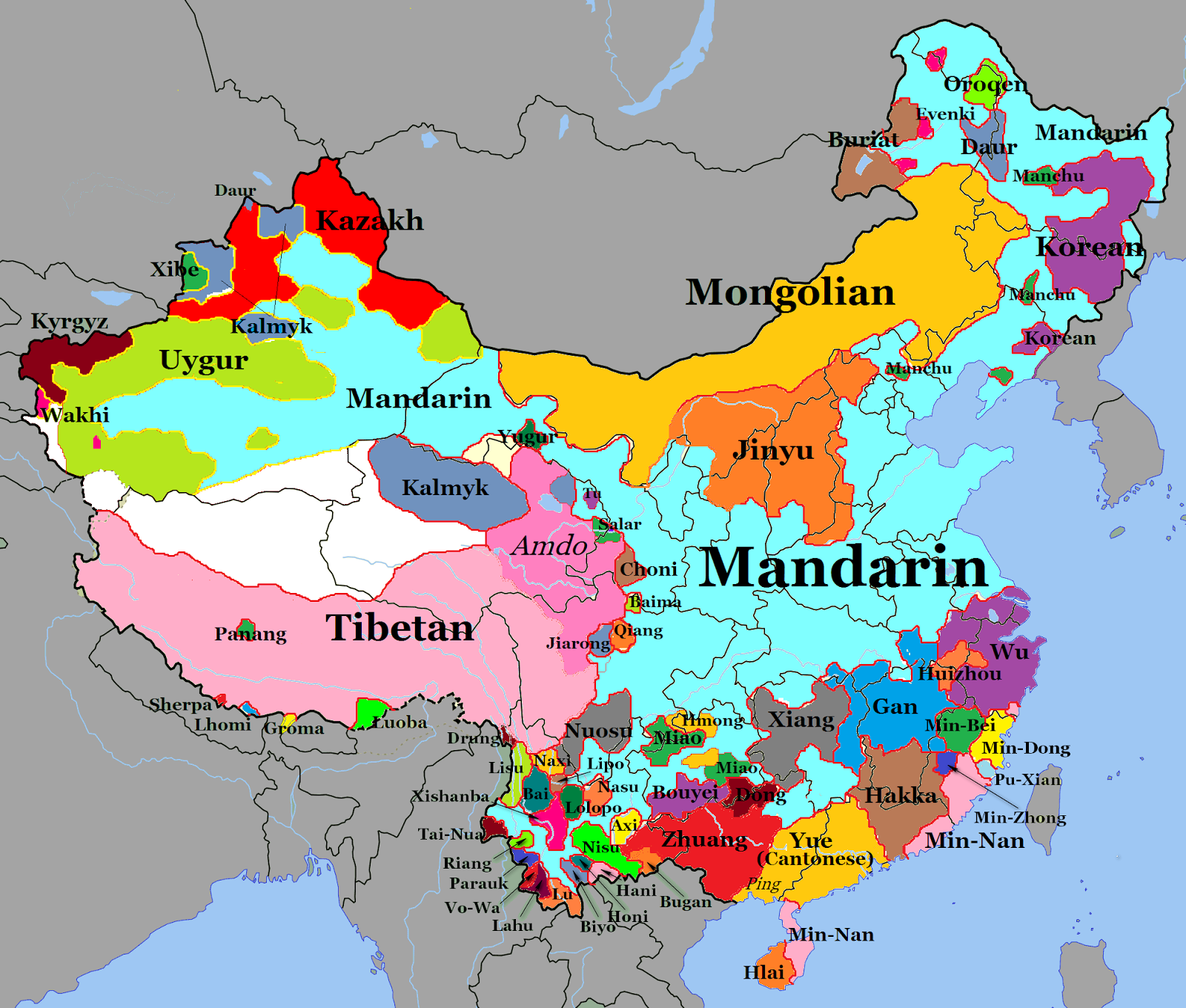 Map of languages spoken in China | China | China map, China ...