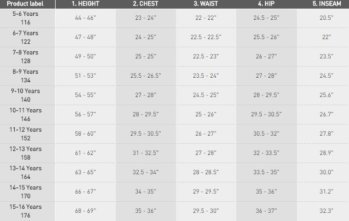 Adidas Childrens Clothing Size Chart In 2020 Clothing Size Chart Size Chart For Kids Childrens Clothes
