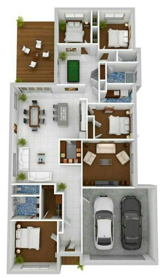 Plano De Casa Con 4 Cuartos Sala De Juegos Y Terraza En