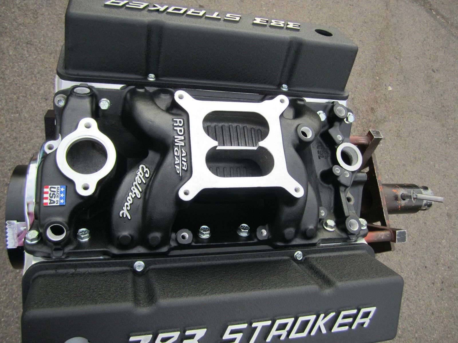 450 hp 383 chevy stroker engine motor with edelbrock heads