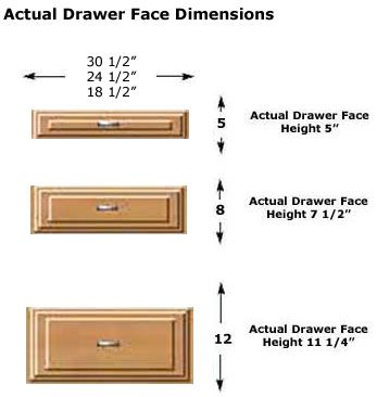 Closet  Drawers Face Dimmensions