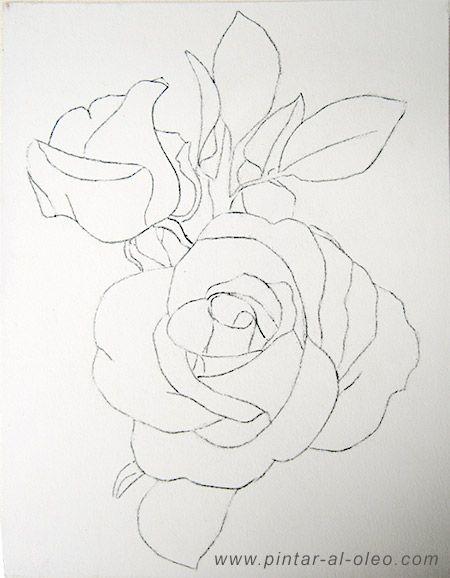 Como Dibujar Una Rosa Cuadrícula Pintar Al óleo Pintura En 2019