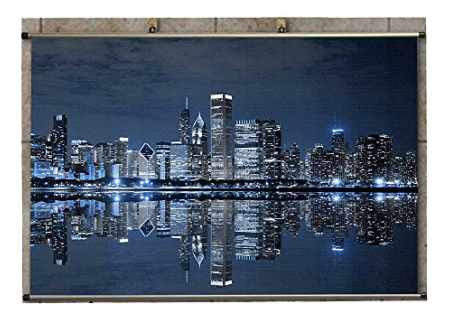 Canvas Wall Scroll Poster (32x20 inches) Man Made Chicago RYDK_437679 - Brought to you by Avarsha.com