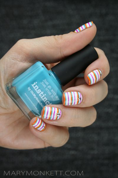 Colorful Stripes Star Studs Nails: http://www.marymonkett.com/rayures-tricolores-100-picture-polish/