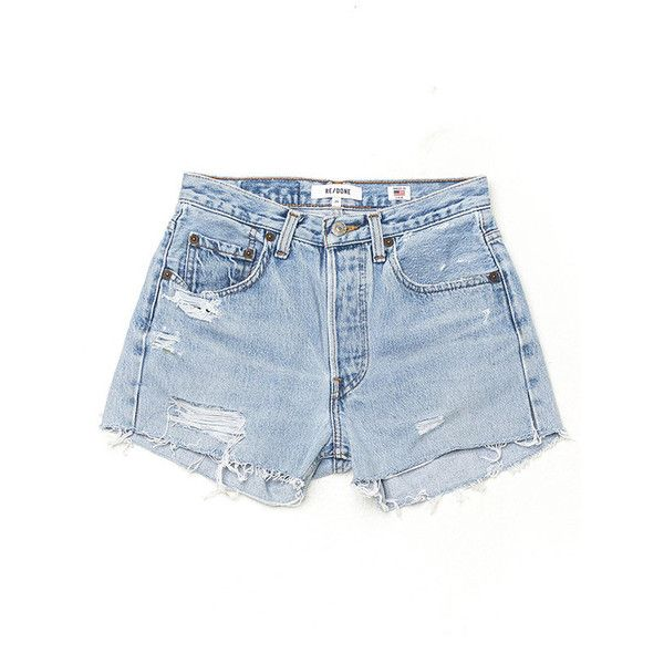 RE/DONE Denim Shorts - Destructed ($235) ❤ liked on Polyvore featuring shorts, bottoms, cut-off jean shorts, distressed jean shorts, ripped shorts, vintage jean shorts and destroyed jean shorts