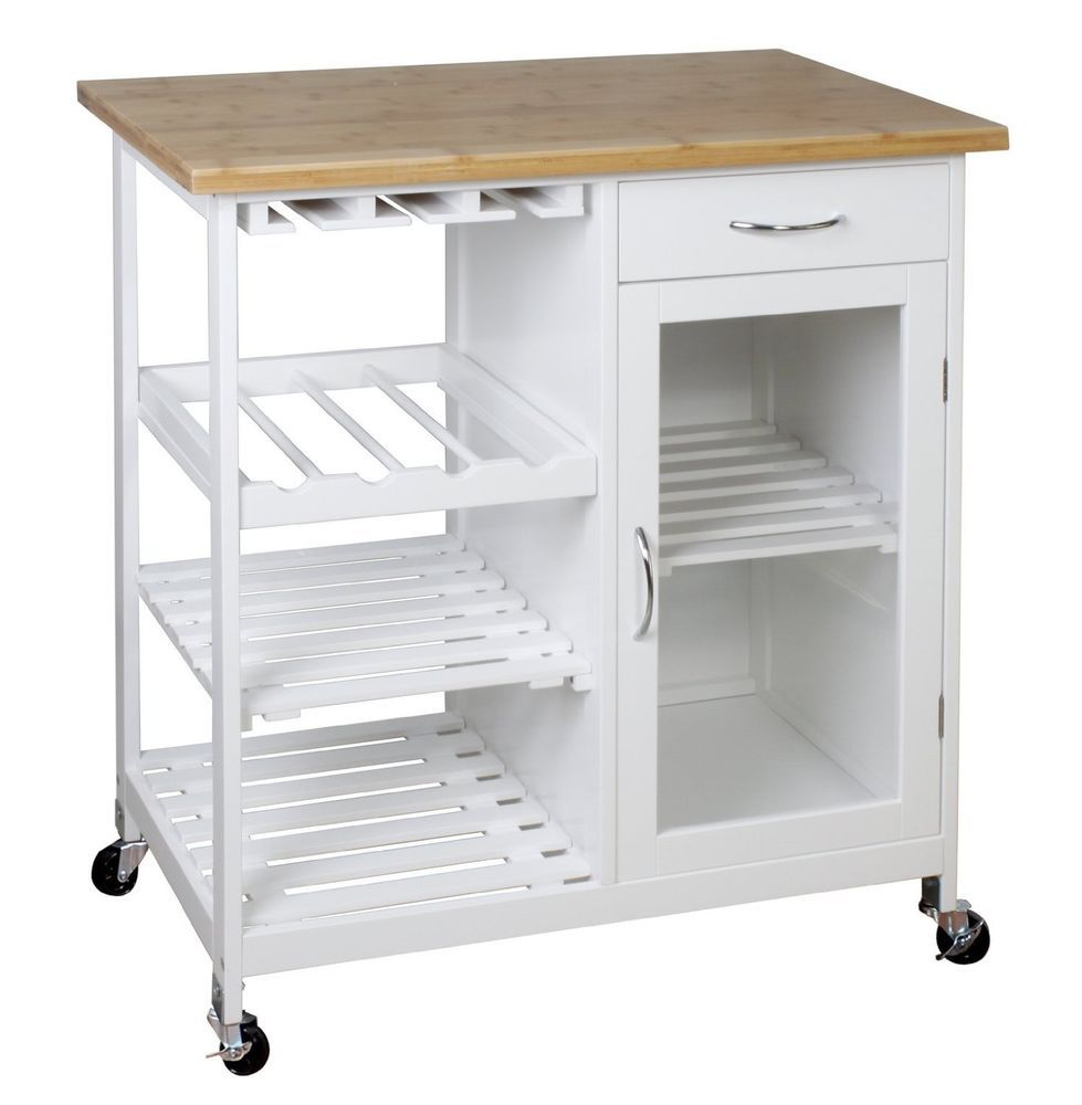 White Kitchen Trolley wooden/bamboo kitchen trolley cart/butcher's trolley with shelves
