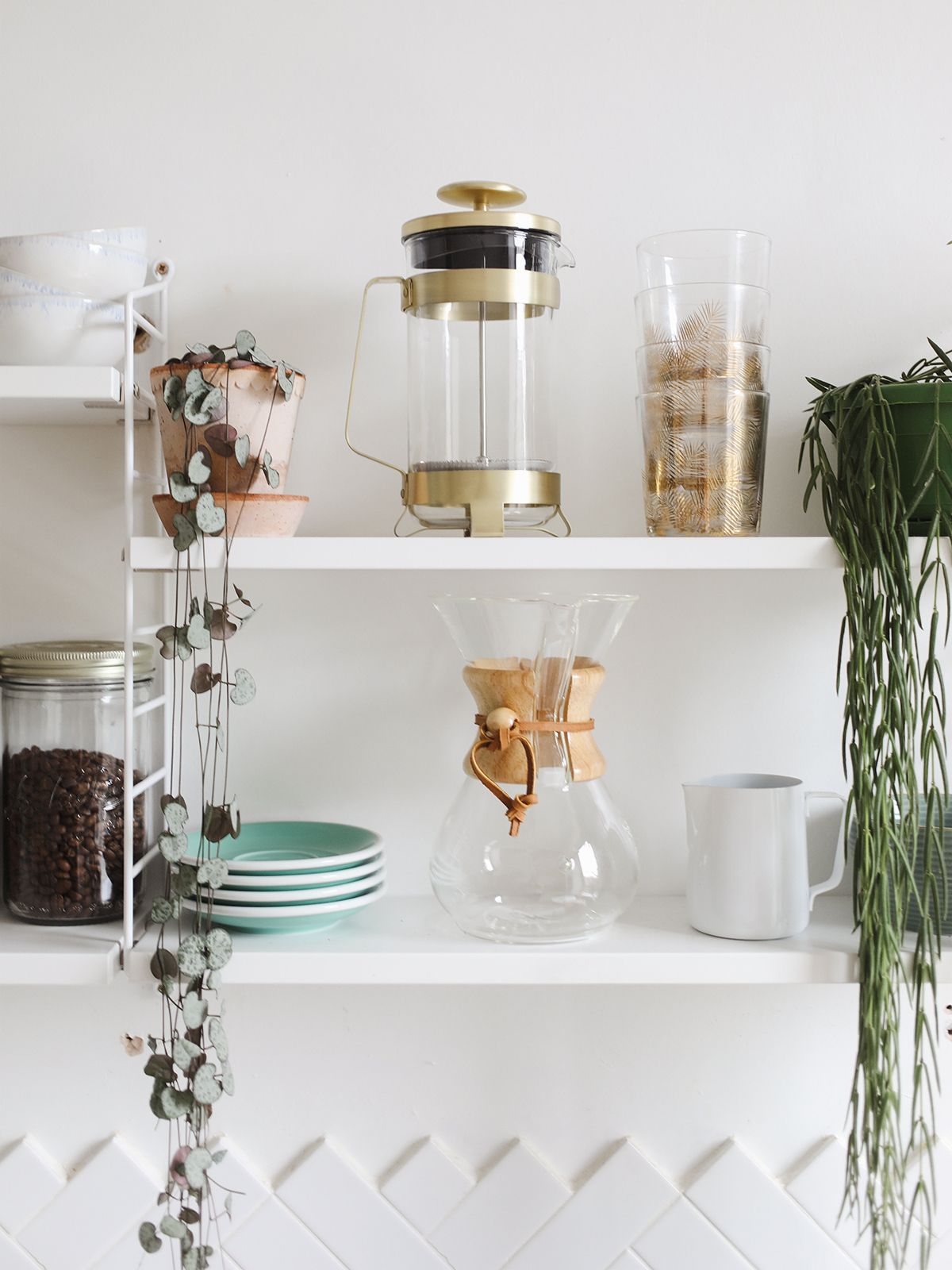 Open shelving in our kitchen neat pinterest open shelving